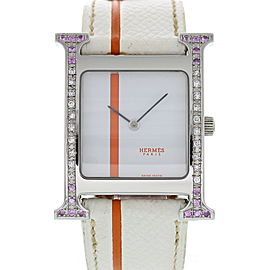 "Hermes ""H"" Hour HH1.510 Stainless Steel & Leather w/Diamond Quartz 26mm Womens Watch"