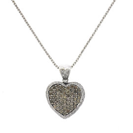 LeVian Pave 14k White Gold Diamond Heart Necklace