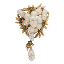 14K YELLOW GOLD NATURAL PEARL AND TURQUOISE BROOCH