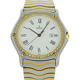 Ebel Sportwave 183903 18K Yellow Gold and Stainless Steel Diamond Bezel 34mm Watch