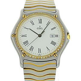 Ebel Sportwave 183903 18K Yellow Gold and Stainless Steel Diamond Bezel 34mm Watch