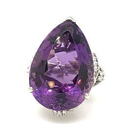 900 Platinum Amethyst 0.37ctw Diamond Ring Size 9