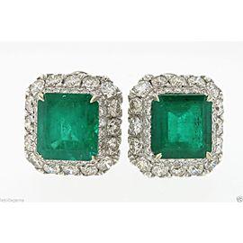 18K White Gold Emerald 3.11ctw Diamond Earrings