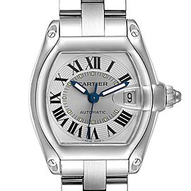 Cartier Roadster Silver Roman Dial Steel Mens Watch W62000V3