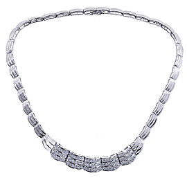 14K White Gold 2.25ct Diamond Sea Wave Necklace