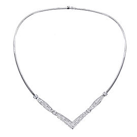 14K White Gold 3.50ct Diamond V-Shaped Necklace
