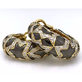 18K Yellow Gold Black Rhodium 2.50ctw Diamond Earrings