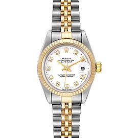 Rolex Datejust Steel Yellow Gold White Diamond Dial Ladies Watch