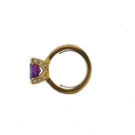 Yellow Gold Amethyst, Diamond Mens Ring