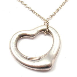 Tiffany & Co. 925 Sterling Silver Elsa Peretti Open Heart Pendant Necklace