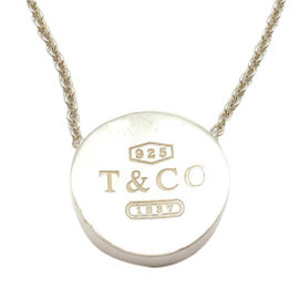 Tiffany & Co. 925 Sterling Silver 1837 Concave Pendant Necklace