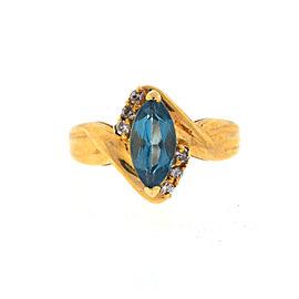 14K Yellow Gold Topaz Diamond Ring Size 6