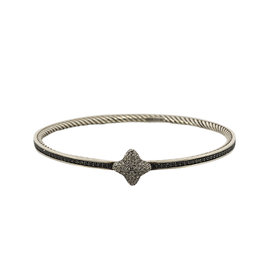 David Yurman 925 Sterling Silver Quatrefoil Diamond White & Black Bangle Bracelet