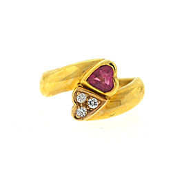 14K Yellow Gold Tourmaline Diamond Ring Size 7.25