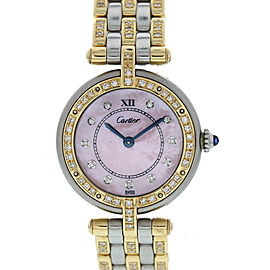 Cartier Panthere Vendome 1057920 18K Yellow Gold / Stainless Steel with Pink Dial 24mm Womens Watch