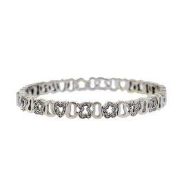 Tous 18K White Gold 0.50ct. Diamond Teddy Bear Heart Star Crown Bracelet