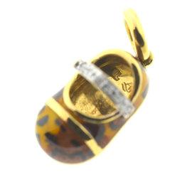 Aaron Basha 18K Yellow Gold Leopard 0.07ct. Diamonds Baby Shoe Charm Pendant