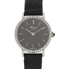 Chopard 8019ACIERINOX Stainless Steel & Leather wDiamonds Manual 24mm Womens Watch