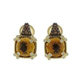 Judith Ripka 18K Yellow Gold Citrine 0.90ctw Diamond Earrings