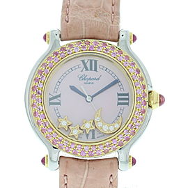 Chopard Happy Sport 27/8239-42 Stainless Steel & Leather wDiamonds Quartz 32mm Womens Watch