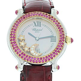 Chopard Happy Sport 27/8239-42 Stainless Steel & Leather wDiamonds Quartz 33mm Womens Watch