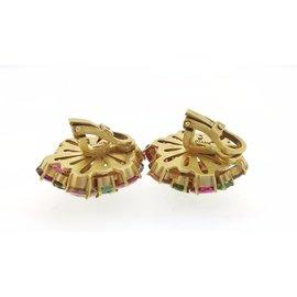 18K Yellow Gold Tourmaline Peridot Kunzit Earrings