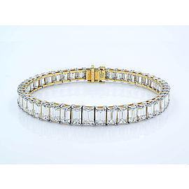 Yellow Gold, Platinum Emerald, Diamond Bracelet