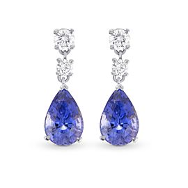 Leibish 18K White Gold with 3.22ct Sapphire and 0.52ctw Diamond Drop Earrings