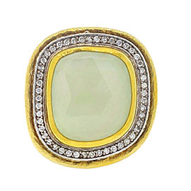 Gurhan 24K Yellow Gold Pale Green Chalcedony and 0.38ct. Diamond Ring Size 6.5
