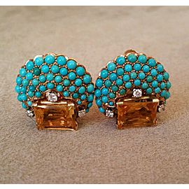 18K Yellow Gold Citrine Turquoise Emerald 0.30ctw Diamond Earrings