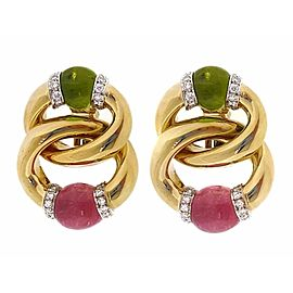 18K Yellow Gold with Peridot & Pink Tourmaline & Diamond Link Earrings