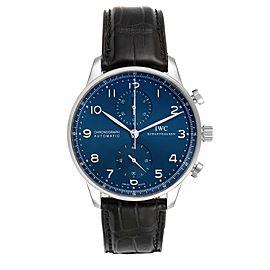 IWC Portuguese Chronograph Blue Dial Steel Mens Watch IW371491 Box Card
