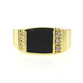 14K Yellow Gold with Diamonds & Onyx Ring Size 10.5