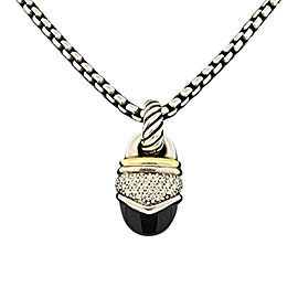 David Yurman 925 Sterling Silver and 18K Yellow Gold with Acorn Onyx and Diamond Pendant Necklace