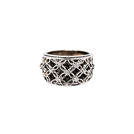 14K White Gold with 1.39ct. Black & White Diamonds Flower Design Double Layer Ring Size 5