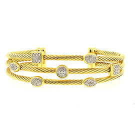 David Yurman 18K Yellow Gold with Diamond Confetti Cuff Bracelet