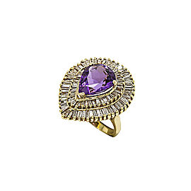 14K Yellow Gold with 4.63ct. Diamond & 15ct. Amethyst Stone Cocktail Ring Size 7.5