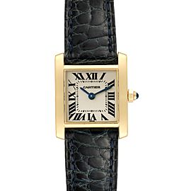 Cartier Tank Francaise Yellow Gold Black Strap Ladies Watch W5000256