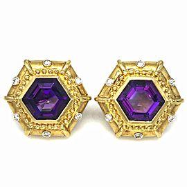18K Yellow Gold Amethyst 50ctw Diamond Earrings
