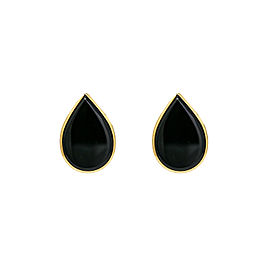14K Yellow Gold & Onyx Tear Drop Stud Earrings