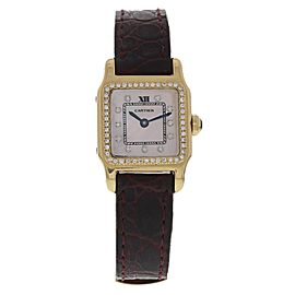 Cartier Santos Dumont 18K Yellow Gold / Leather Quartz with Custom Diamonds 20mm Womens Watch