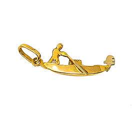 18K Yellow Gold Person Rowing Sail Boat Pendant Charm