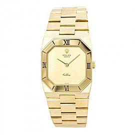 Rolex Cellini 4350 18K Yellow Gold Gold Dial Manual 27mm Mens Watch