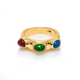 14K Yellow Gold with Red Green Blue Color Stones Band Ring Size 7.25