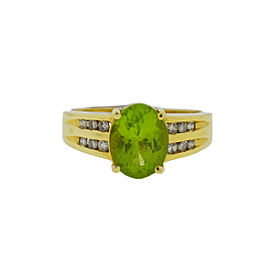 14K Yellow Gold Oval Peridot Diamond Ring Size 8.25