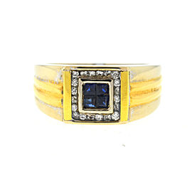 18K Yellow and White Gold Sapphire & Diamond Ring Size 10.5