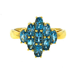 14K Yellow Gold Synthetic Blue Topaz Ring Size 9
