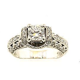 14k White Gold .95 Radiant F SI1 IGI center Diamond Engagement Ring Band Sz 5