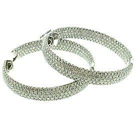 18K White Gold 20.0ctw Diamond Hoop Earrings