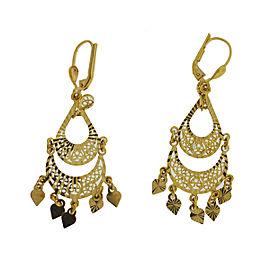 14k Yellow Gold Dangle Drop Ladies Earrings